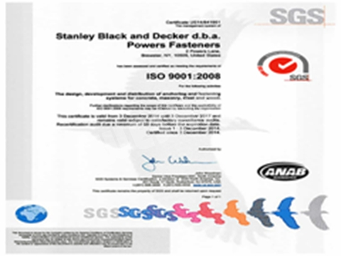 Anchor System Certificate ISO 9001	(工程部)